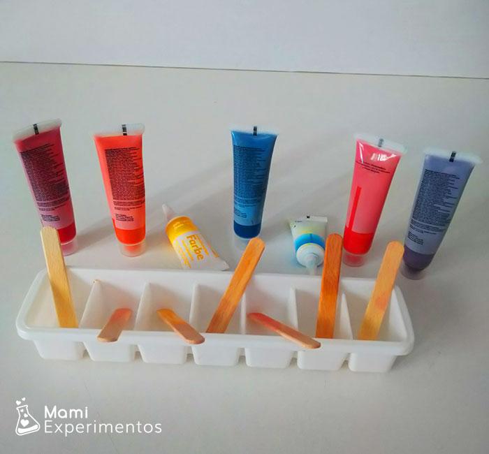 Materiales necesarios para hacer pinturas de hielos de colores