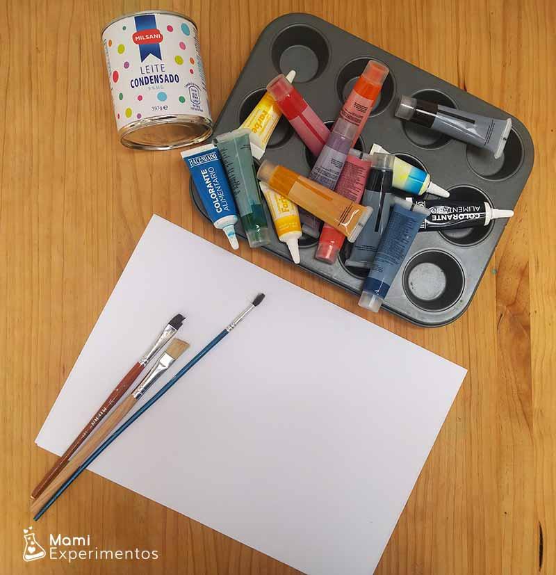 Materiales necesarioss para hacer pintura con leche condensada