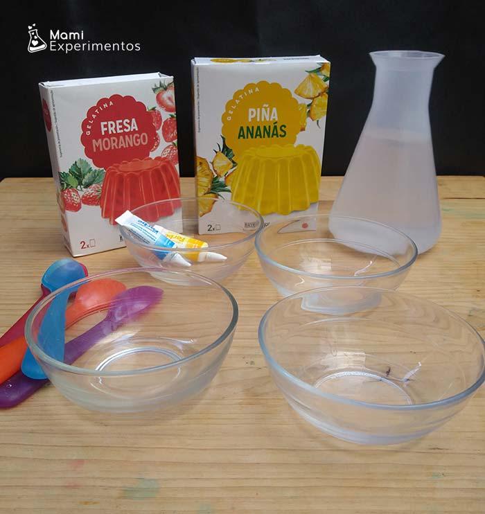 Materiales necesarios para hacer pintura de gelatina