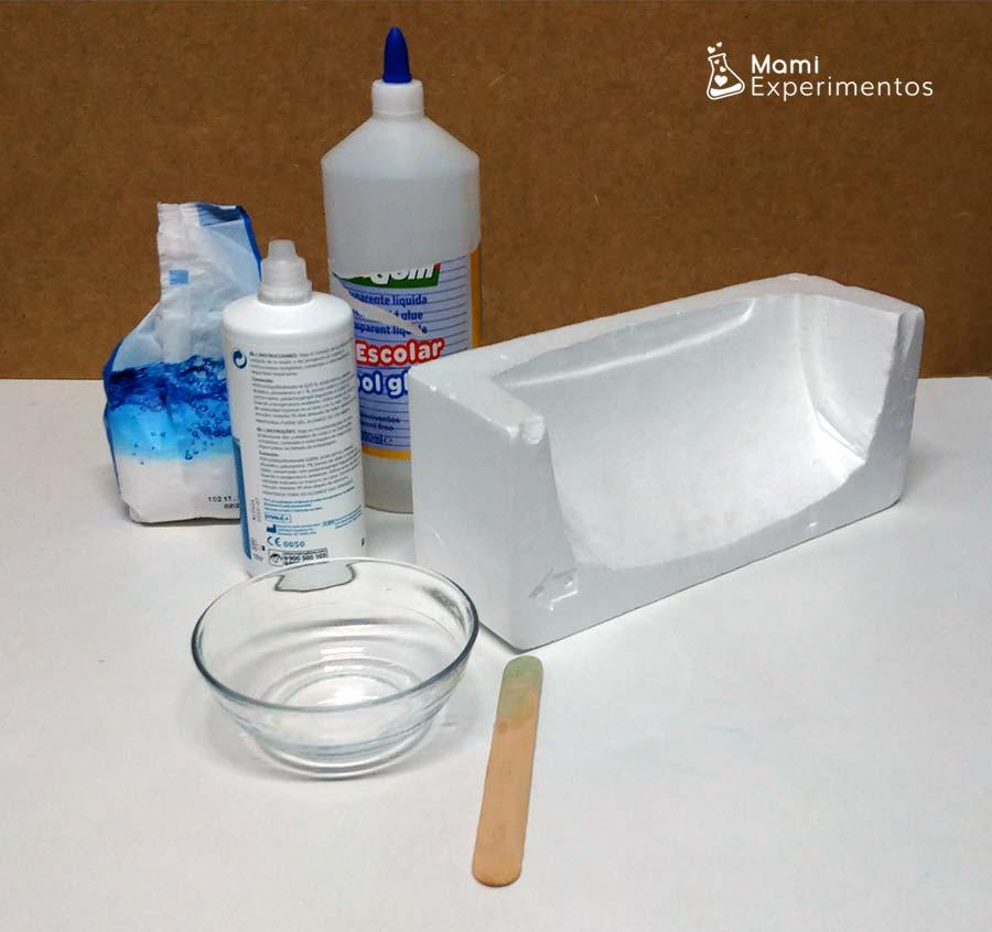 Materiales necesarios para hacer slime crujiente de nieve