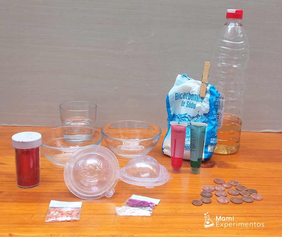 Materiales necesarios para crear tesoros escondidos efervescentes