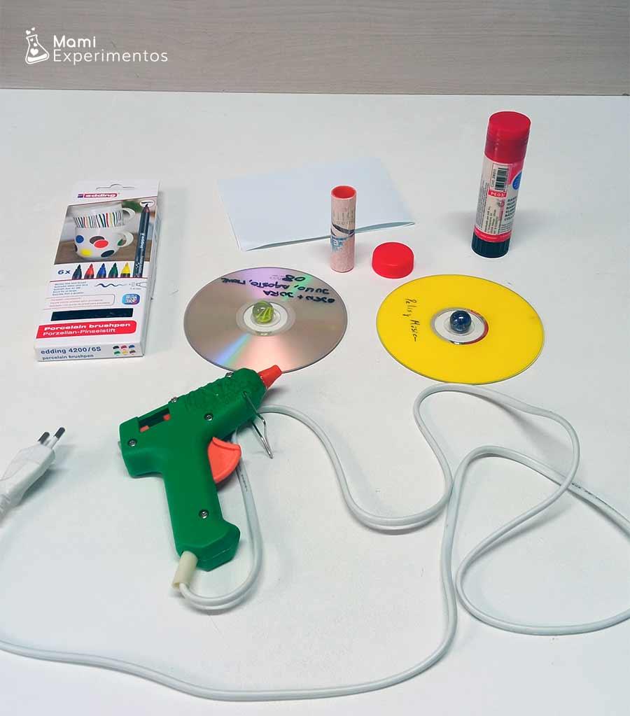 Materiales para crear spinner casero con cds viejos
