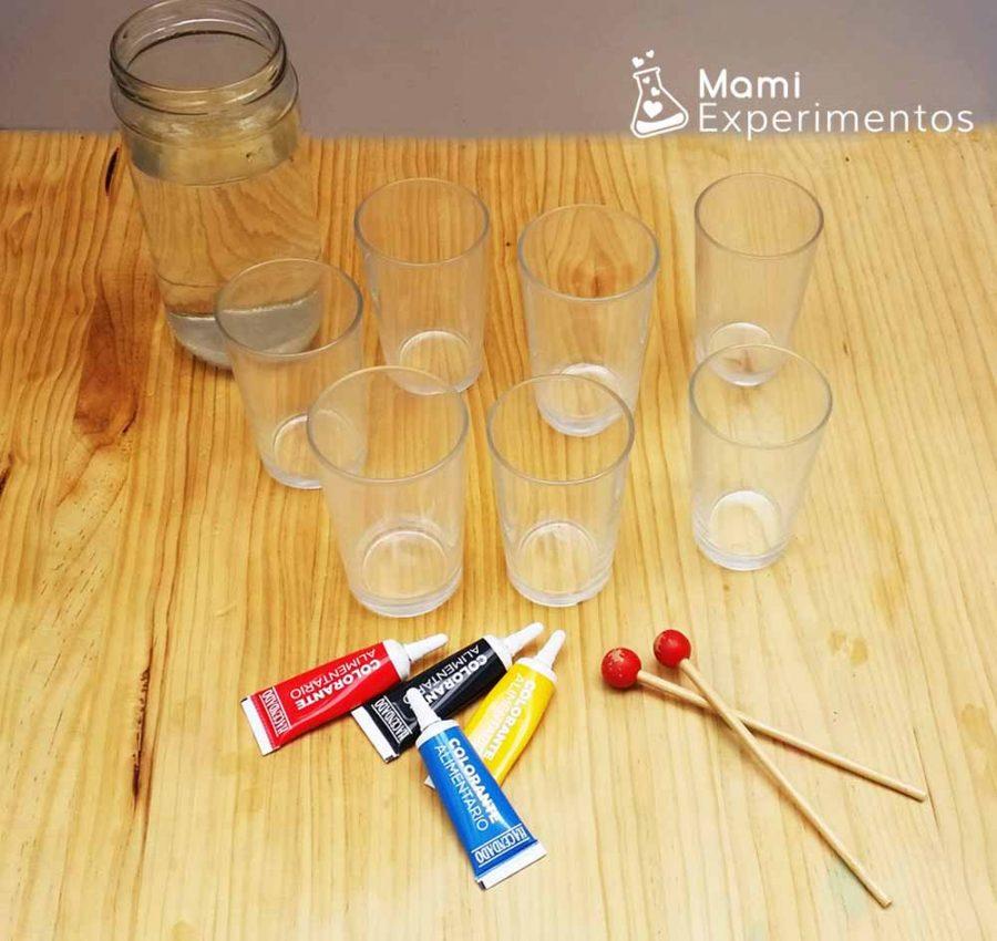 Materiales para hacer un xilófono de agua arco iris