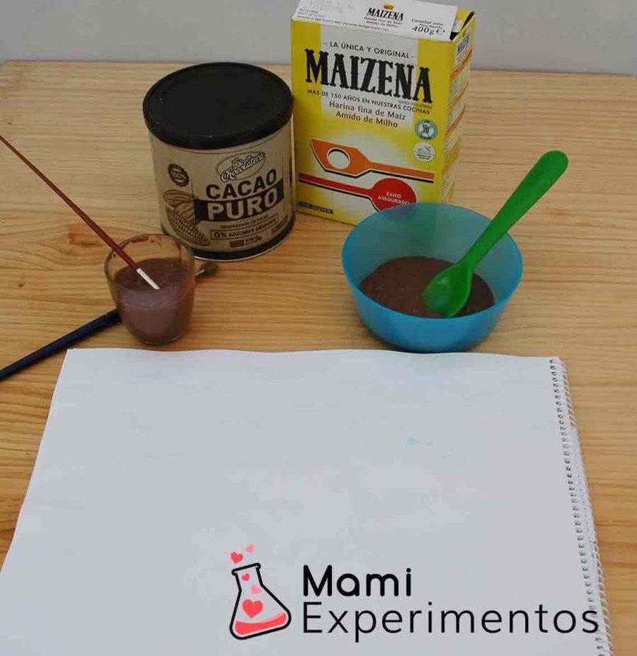 Materiales necesarios para hacer pintura casera de chocolate