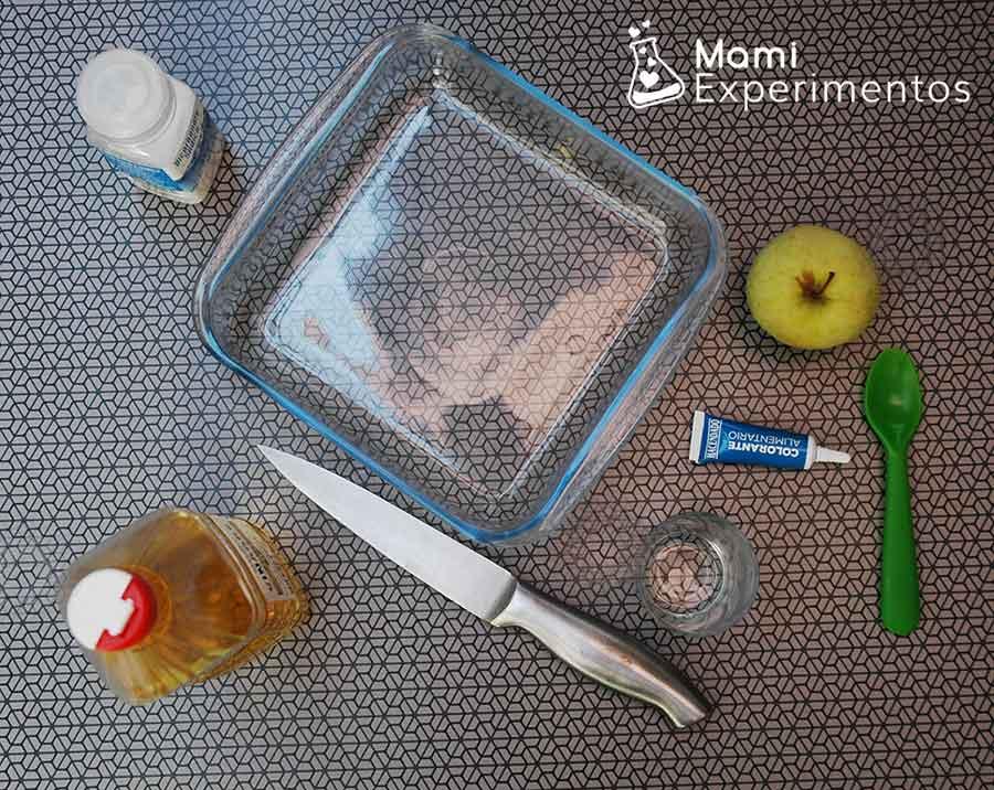 Materiales necesarios para hacer un volcán con una manzana
