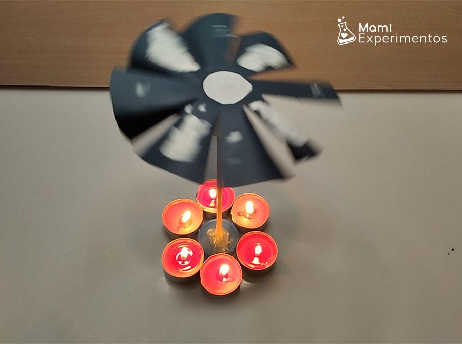 Molinillo movido por velas encendidas