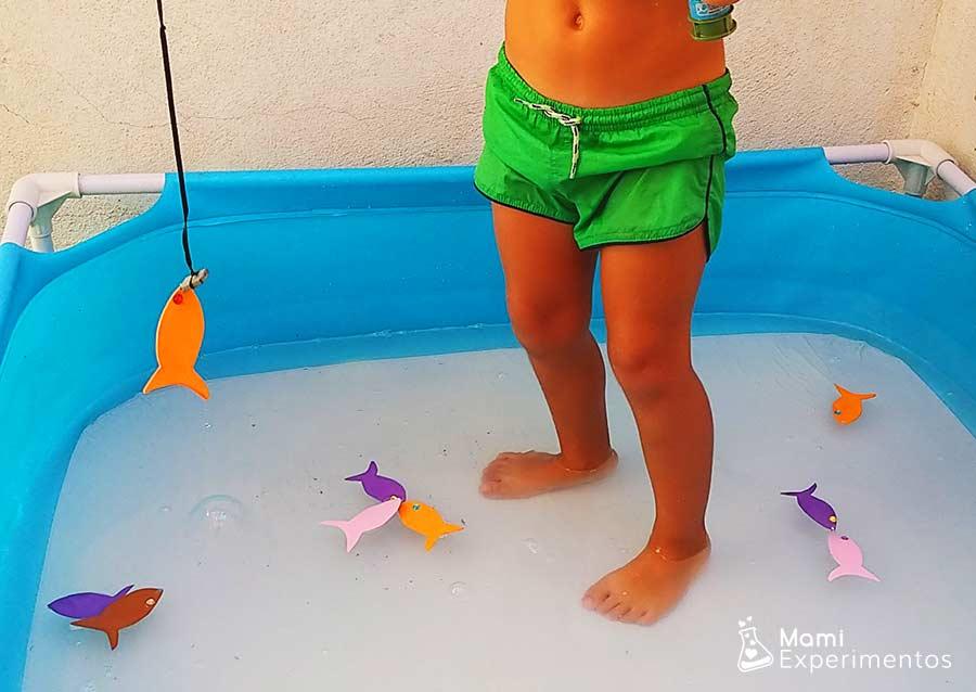 Pesca de peces de colores en la piscina