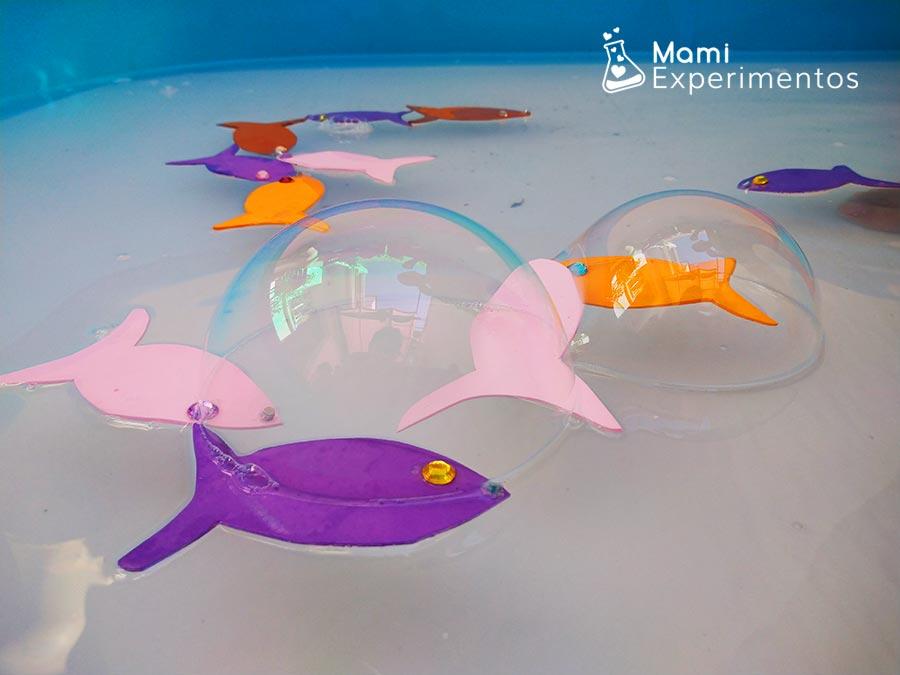 Pescar peces de colores con imanes y burbujas