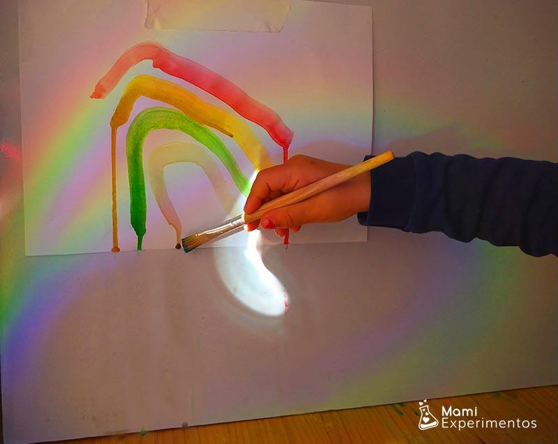 PIntando nuestro arco iris a través del reflejo en la pared