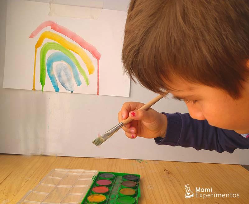 Pintar con acuarelas reflejo cd en la pared