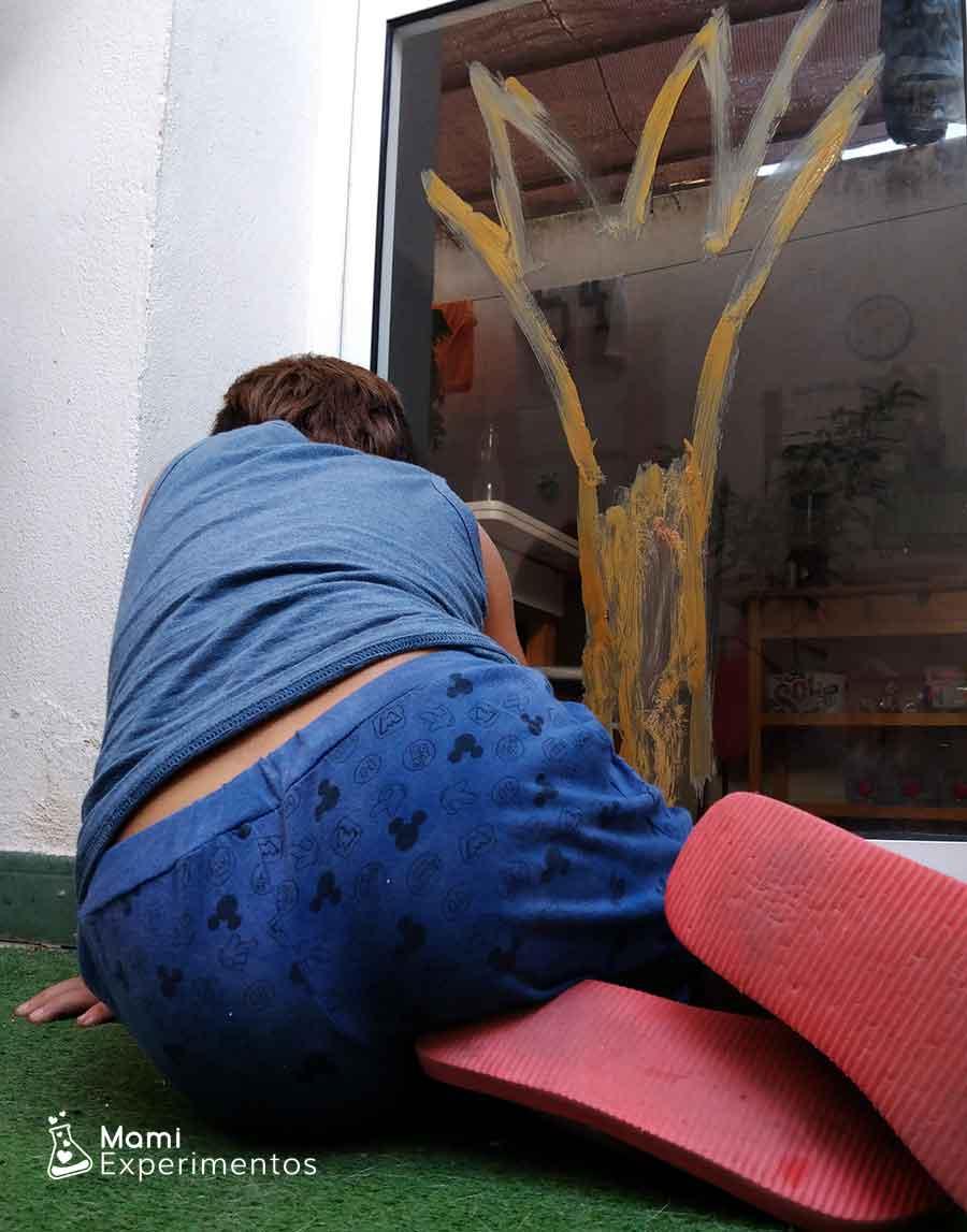 pintura casera ventana arte otoño