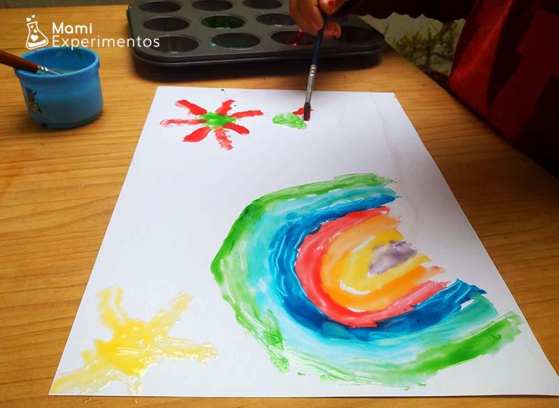 Pintura casera con leche condensada brillante