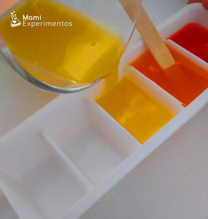 PInturas de colores hacer hielo color amarillo