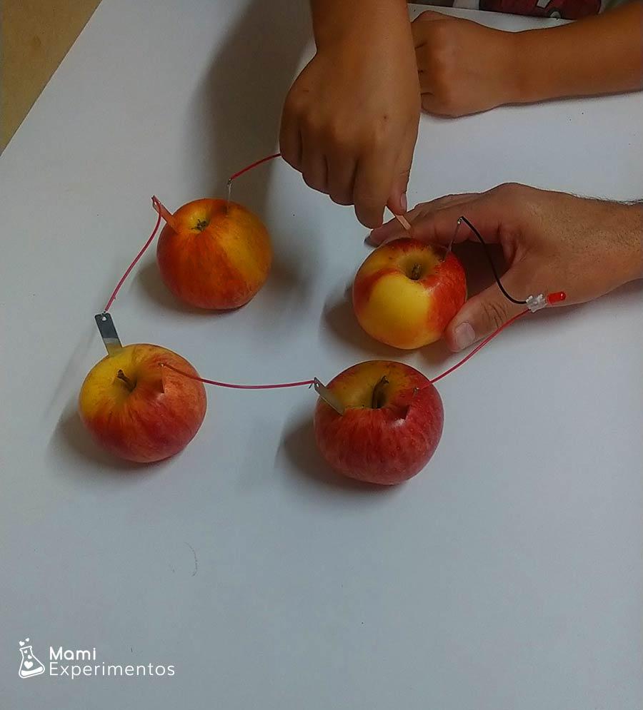 Placa de cobre en circuito con manzanas