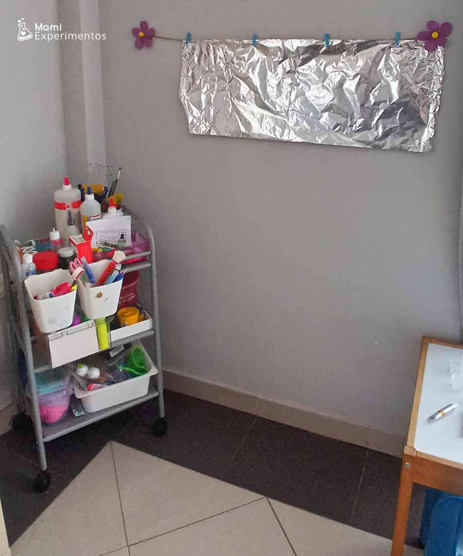 Preparando lienzo especial con papel de aluminio pintura veraniega