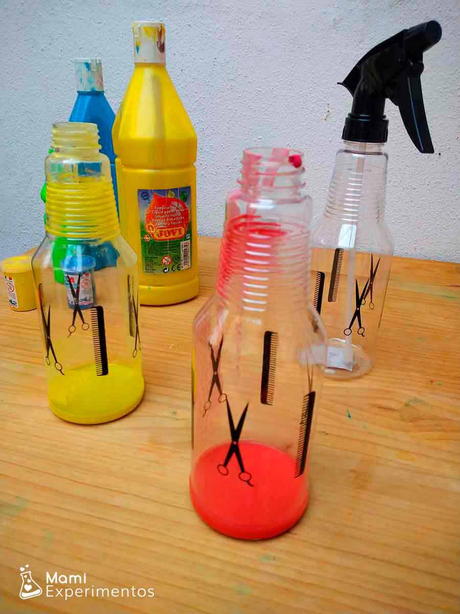 Preparando témperas diluidas para pintar con pulverizador