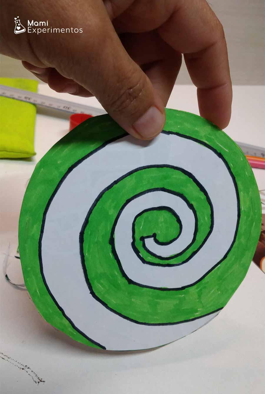 Preparando espiral para spiner día de Andalucía color verde