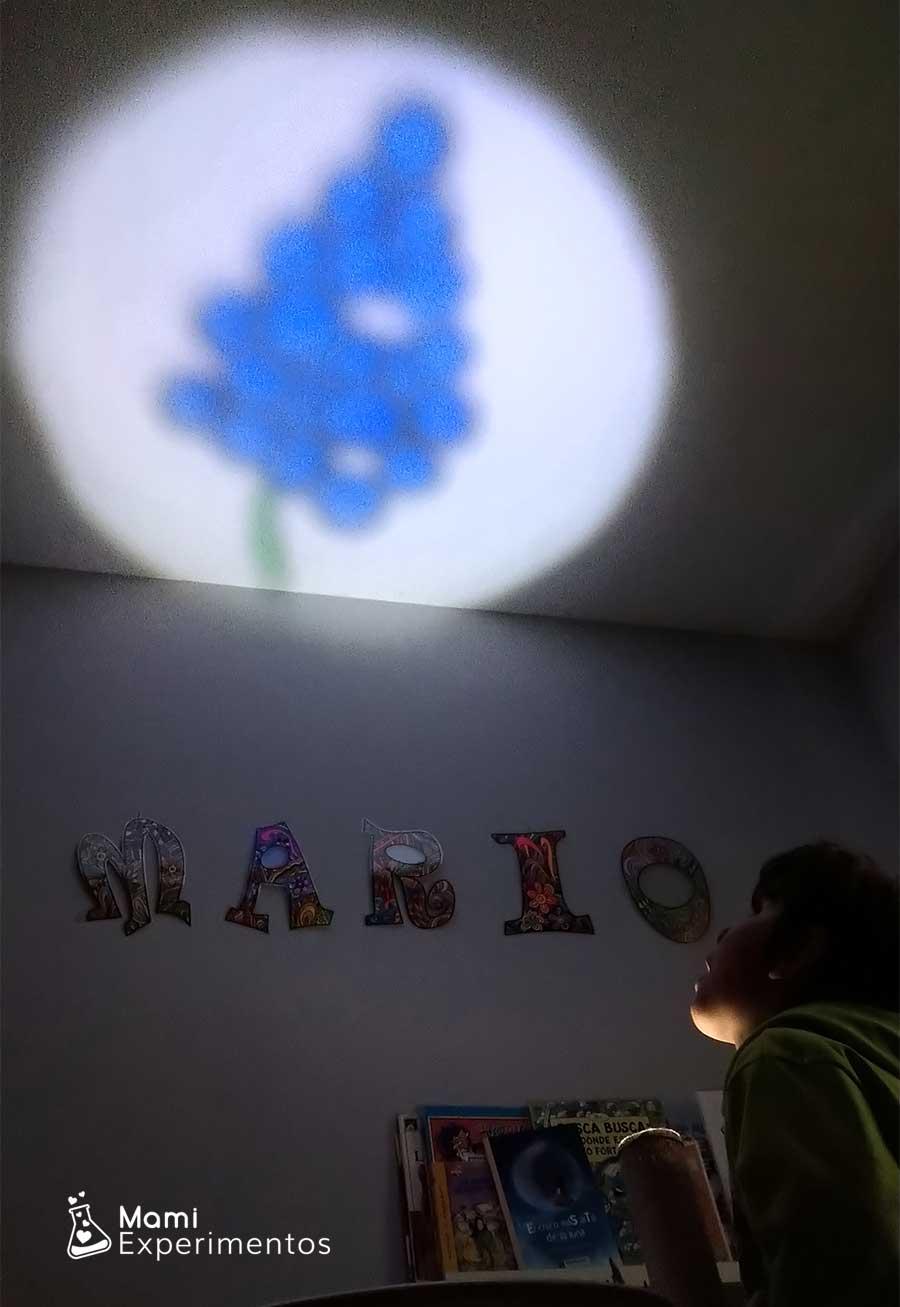 Proyectar en el techo las frutas con proyector casero luces y sombras