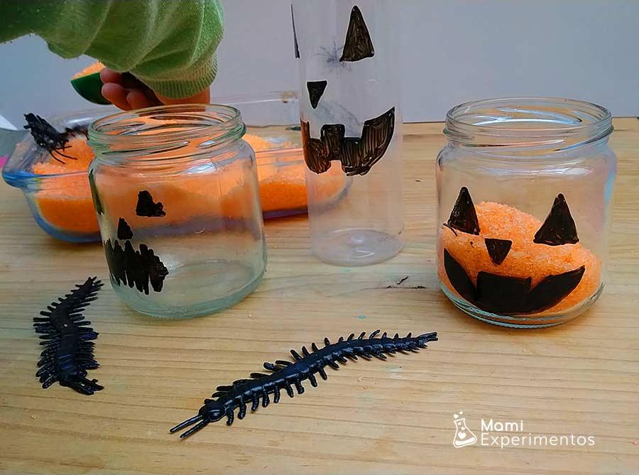 Realizando trasvases en botes para calabazas halloween