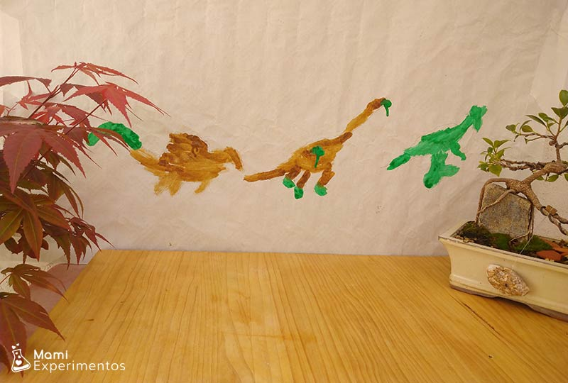Resultado final arte con sombras dinosaurios