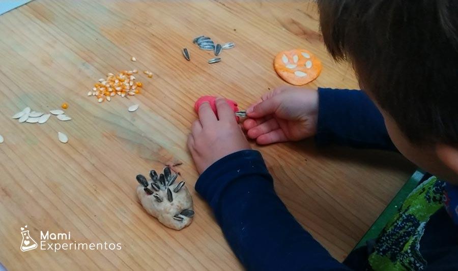 Semillas en plastilna casera perfumada de otoño