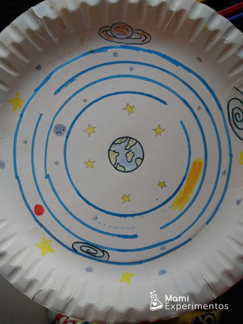 Sistema solar en un plato de cartón