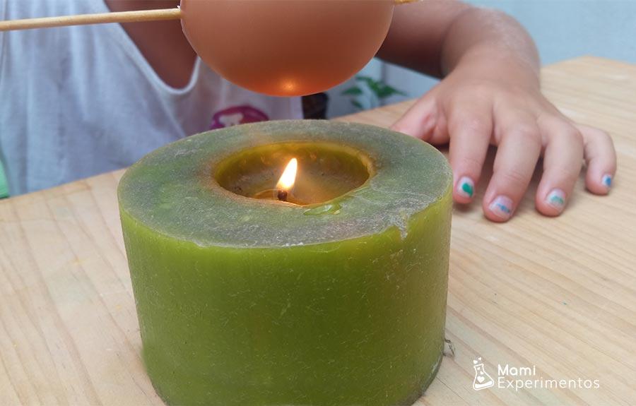 Vela quemando huevo experimento huevo plateado